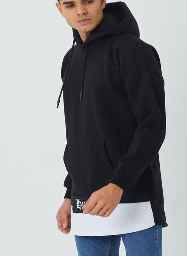XHAN Siyah & Beyaz Garnili Sweatshirt 1Kxe8-44327-02 Siyah